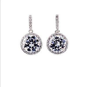 Simple silver large crystal earrings
